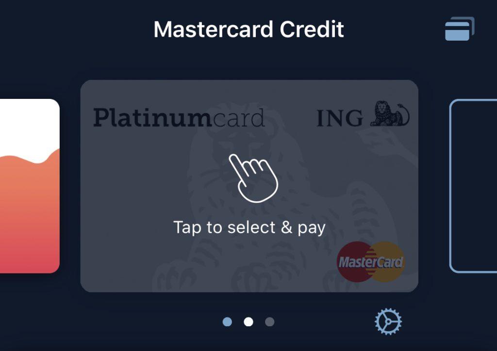 Actief maken van de toegevoegde creditcard in de Curve app door er op te tikken. Hierna is het mogelijk om met de Curve Mastercard te betalen.