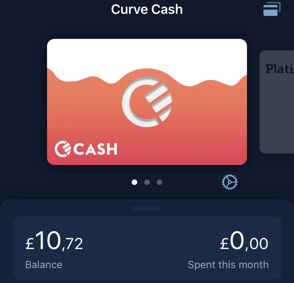Curve Cash / Cashback geactiveerd door met je vinger te hebben getikt op de Curve Cash pas. Het is nu mogelijk om je verdiende cashback uit te geven.