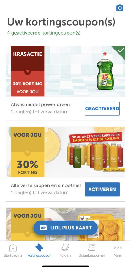 Kortingscoupons activeren in de Lidl Plus App