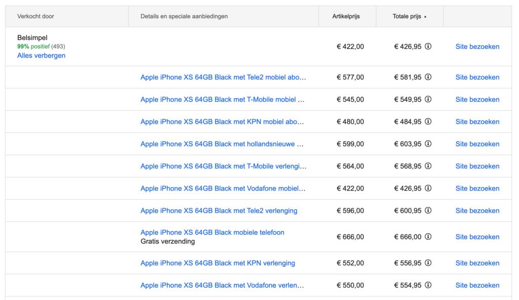 iPhone XS 64gb via Google Shopping uitklapbare resultaten per aanbieder