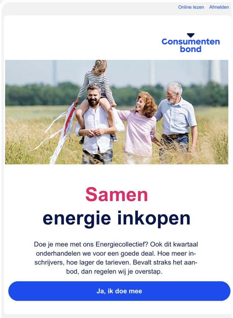 Email uitnodiging van de consumentenbond om in te schrijven voor het energiecollectief