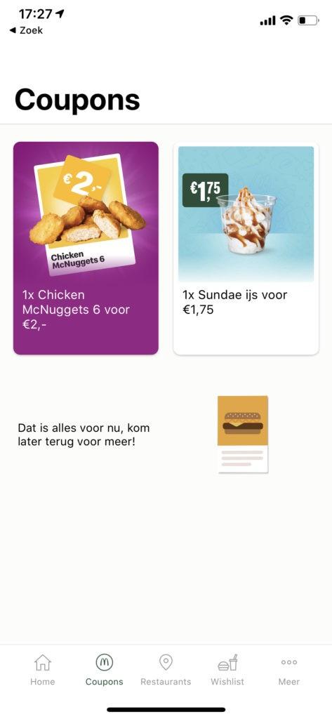 Kortingscoupons in de McDonald's app activeren voor korting op korting dankzij de MCO card door gratis cashback.