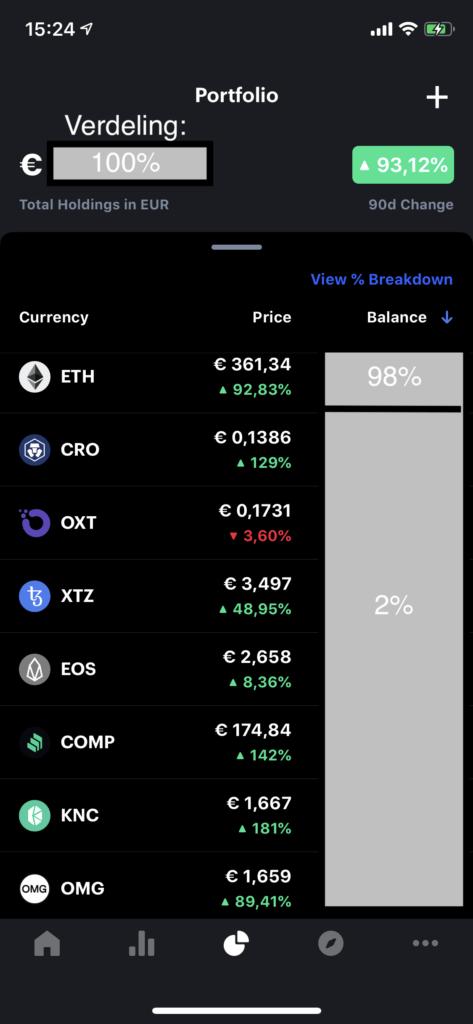 Mijn Crypto portfolio in de CoinMarketCap app