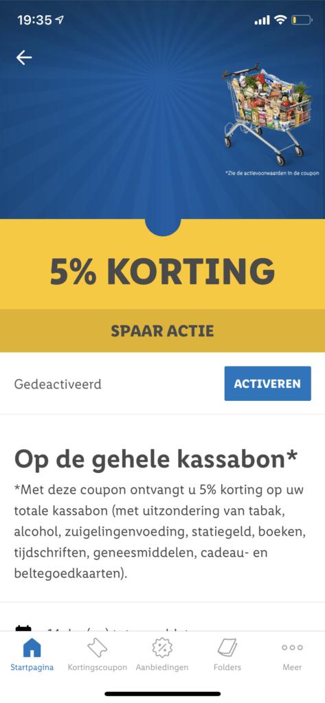 5% korting spaar actie op de gehele kassabon van de Lidl