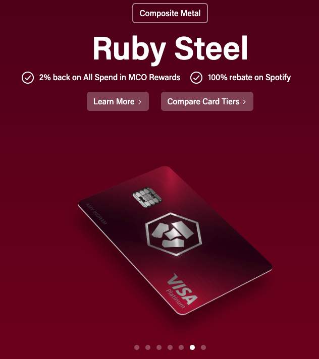 MCO Visa card: Ruby Steel van 'Composite Metal'