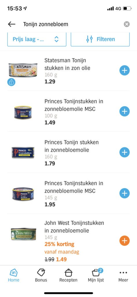 Volledig assortiment producten opzoeken in de Albert Heijn app om prijzen te vergelijken met de Lidl boodschappen digitale kassabon
