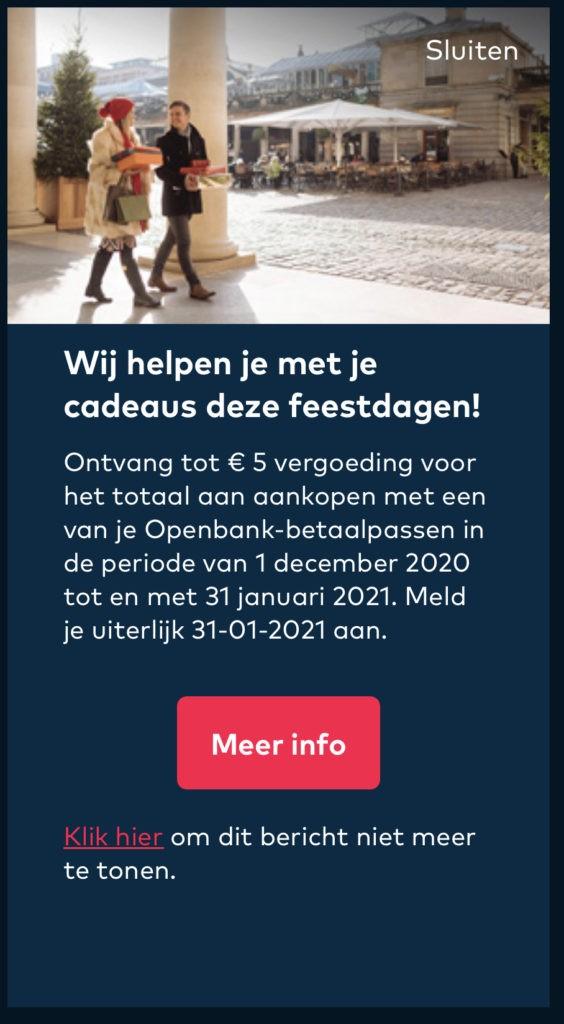 2% cashback tot een maximum van 5 euro cashback in totaal via de Openbank feestdagen actie