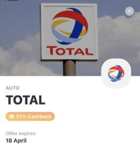21 procent cashback auto tanken Total met Vivid Money