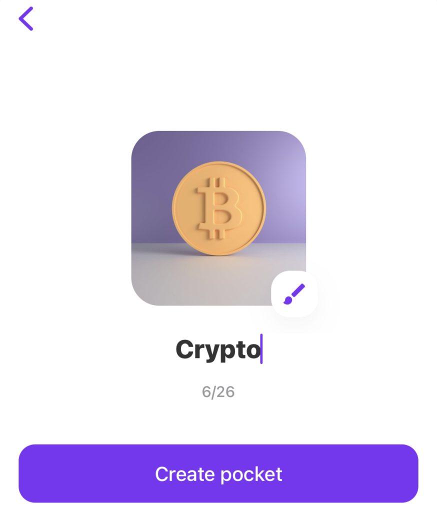 Kies een naam voor je Crypto pocket in de Vivid Money app
