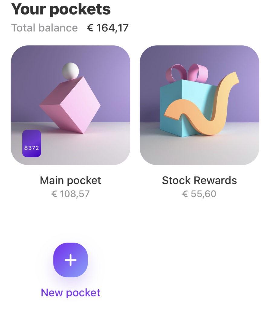 Klik op het paarse plusje (+) van 'New Pocket' om een Crypto pocket te maken in de Vivid money app