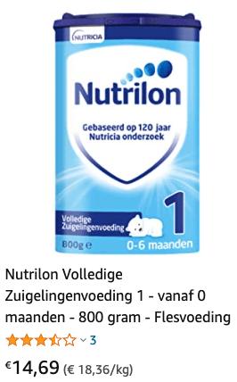 Nutrilon 1 met 11% korting t/m 9 mei 2021