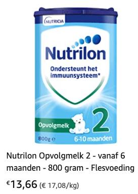 Nutrilon 2 met 24% korting t/m 9 mei 2021