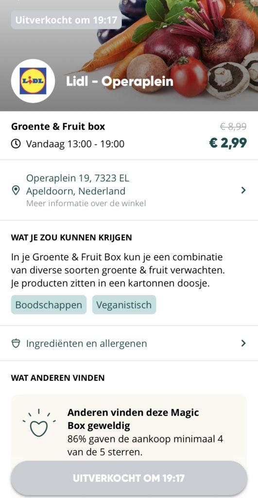 Lidl Groente & Fruit box in de Too Good To Go app